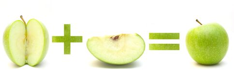 Groene appelwiskunde Stock Fotografie