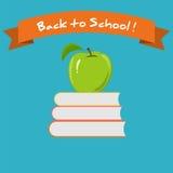 Groene Apple en Boeken de Inschrijving terug naar School Royalty-vrije Stock Afbeelding