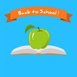Groene Apple en Boeken de Inschrijving terug naar School Stock Fotografie