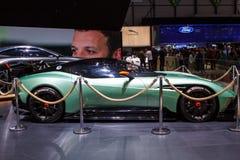 Groene Aston Martin Vulcan Geneva Motor Show 2015 Royalty-vrije Stock Afbeeldingen