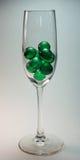 Groene Ballen in Glas royalty-vrije stock foto's