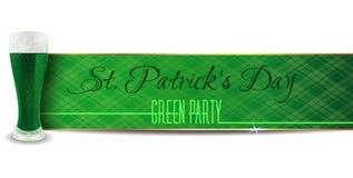 Groene banner met bier voor St Patricks Dag Royalty-vrije Stock Foto's