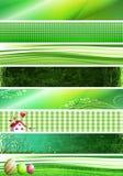 Groene banners Stock Afbeeldingen