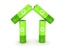Groene batterij over witte achtergrond Stock Afbeelding