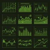 Groene Bedrijfsgrafieken en Grafiekreeks Vector Royalty-vrije Stock Foto