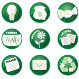 Groene BedrijfsPictogrammen Stock Afbeelding