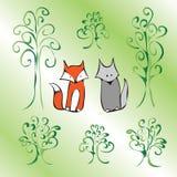 Groene beeldverhaal leuke dieren Stock Foto