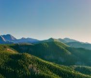 Groene bergen in avondnevel uitstekende filter Stock Afbeeldingen