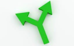 Groene bidirectionele Pijl Royalty-vrije Stock Afbeeldingen