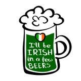 Groene bieraffiche stock illustratie