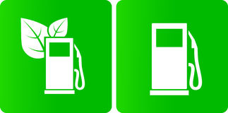 Groene biobenzinestationpictogrammen Stock Foto's