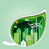 Groene blad en ecologieconceptendocument besnoeiingsachtergrond royalty-vrije illustratie