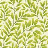 Groene bladeren op beige achtergrond Naadloos patroon stock illustratie