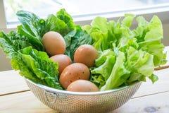 Groene bladgroenten met eieren en brood royalty-vrije stock foto's