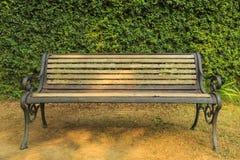 Groene bladmuur met stoel Stock Foto