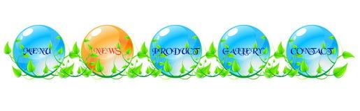 Groene, blauwe en oranje Webnavigatie concep Royalty-vrije Stock Foto