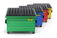 Groene, blauwe, rode en gele kringloop dumpster Stock Fotografie
