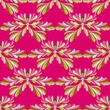 Groene bloemblaadjes van bloemen op een roze vector naadloos patroon als achtergrond royalty-vrije illustratie