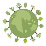 Groene bol met bomen voor Web of druk Royalty-vrije Stock Foto's