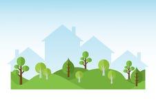 Groene Bomen en Huizensilhouetten Stock Foto's