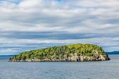 Groene Bomen op Rocky Island Stock Afbeeldingen
