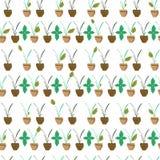 Groene boom in potten naadloos patroon Groene bladeren op de takken voor behanginstallatie en aard, tropisch en natuurlijk stock illustratie