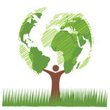 Groene boomwereld Stock Afbeelding