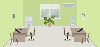 Groene bureauruimte met beige meubilair, een exemplaarmachine, een waterkoeler en een veredelingsmiddel stock illustratie