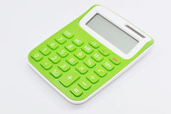Groene calculator witte achtergrond Stock Foto's