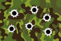 Groene camouflage militaire oppervlakte met kogelgaten na het schieten van kanon en wapen vector illustratie