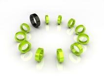 Groene cirkel en zwart element Stock Fotografie