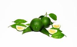 Groene citroen met citroenplakken Stock Fotografie
