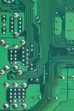 Groene Computermotherboard oppervlakte van technologieachtergrond Royalty-vrije Stock Afbeeldingen