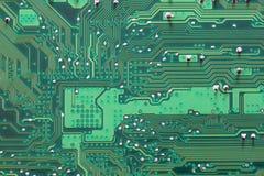 Groene Computermotherboard oppervlakte van technologieachtergrond Royalty-vrije Stock Foto's