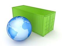 Groene container en Aarde. Stock Afbeelding