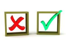 Groene controle en rood kruis Stock Fotografie
