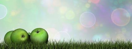 Groene 3D appelen - geef terug Royalty-vrije Stock Foto's