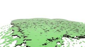 Groene dalingen die op witte oppervlakte langzame motie vallen Gekleurd water vector illustratie