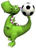 Groene de babydraak van Dino van de voetballer - bal op staart Royalty-vrije Stock Afbeeldingen