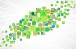 Groene de computertechnologie vectorachtergrond van de ecologieinnovatie Stock Afbeeldingen