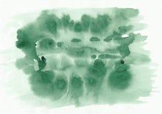 Groene de gradiënthand getrokken achtergrond van de gras horizontale waterverf Stock Afbeelding
