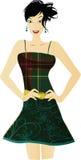 Groene de kledingsillustratie van de vrouw Stock Afbeeldingen