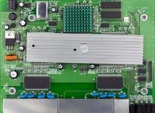 Groene de raads hoogste mening van de Ethernetschakelaar, groene gebruikte PCB stock foto
