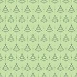 Groene de rassenbarrièrestijl van het kerstboom naadloze patroon op achtergrond voor groetkaarten Stock Afbeeldingen