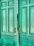 Groene deur (HDR) Stock Foto's