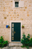 Groene deuren Houten Textuur Oude sjofele, bestraalde verf Stock Afbeeldingen