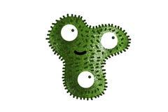 Groene die beeldverhaalbacterie op witte achtergrond wordt geïsoleerd stock fotografie