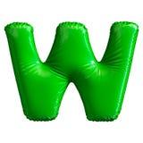 Groene die brief W van opblaasbare die ballon wordt gemaakt op witte achtergrond wordt geïsoleerd Stock Afbeelding