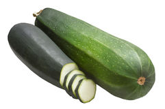 Groene die courgette twee, op witte achtergrond wordt geïsoleerd Stock Foto's