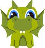 Groene die draak op witte achtergrond wordt geïsoleerd Stock Foto